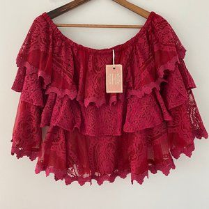 Champagne and Strawberry Lace Boho Top